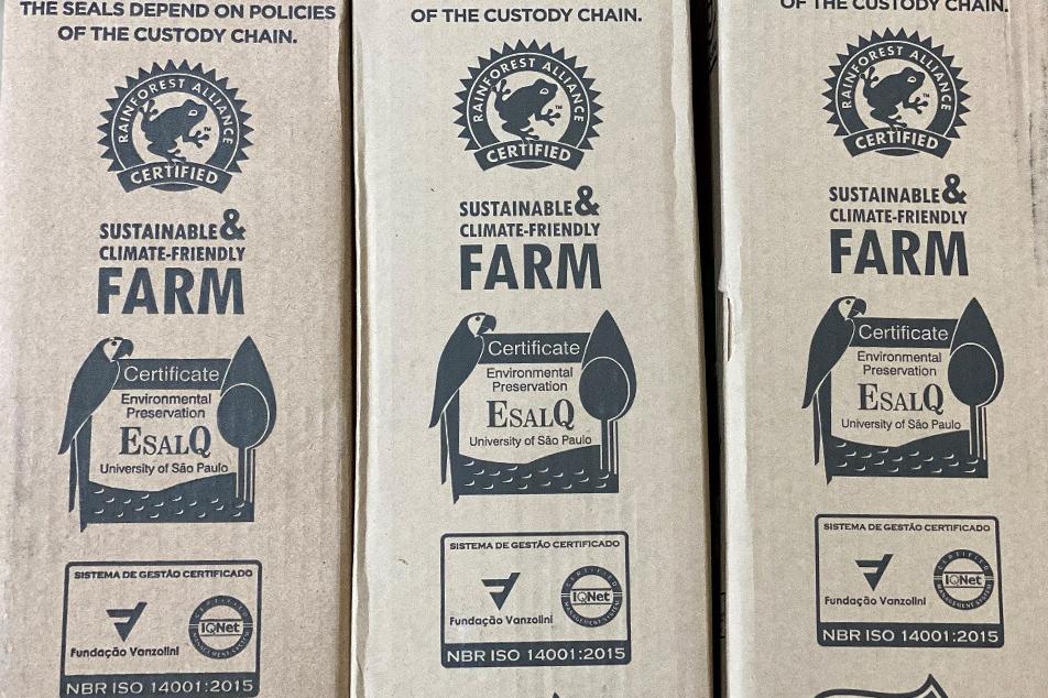 カエルのマークは「レインフォレスト・アライアンス」に認証された農園の証です。